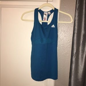 NWOT SZ S ADIDAS LINED TEAL RACERBACK WORKOUT TOP